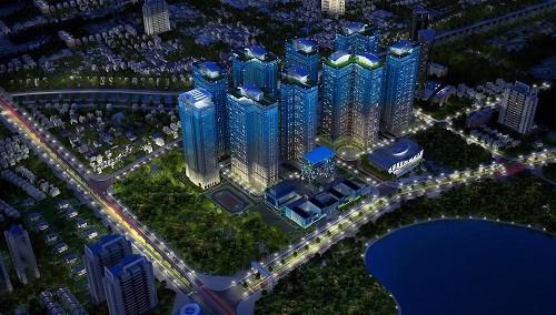 Phối cảnh tổng thể dự án Goldmark City.<br>