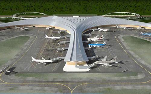 Phối cảnh thiết kế mô hình sân bay Long Thành.<br>