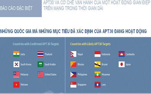 Các quốc gia mà APT 30 đang hoạt động, theo báo cáo của hãng bảo mật FireEye. <br>