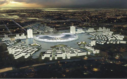 Phối cảnh dự án Trung tâm Hội chợ triển lãm Quốc gia rộng 125 ha, ban đầu được dự kiến xây dựng xã Mễ Trì - Trung Văn, Nam Từ Liêm, Hà  Nội.