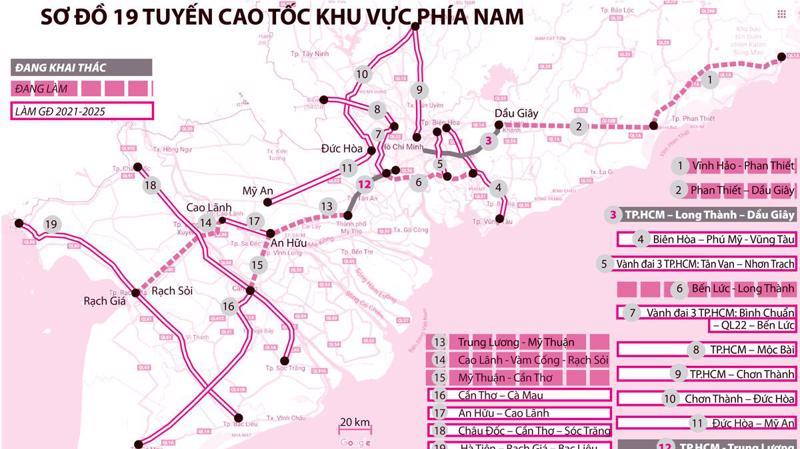Sơ đồ 19 tuyến cao tốc của khu vực phía Nam.