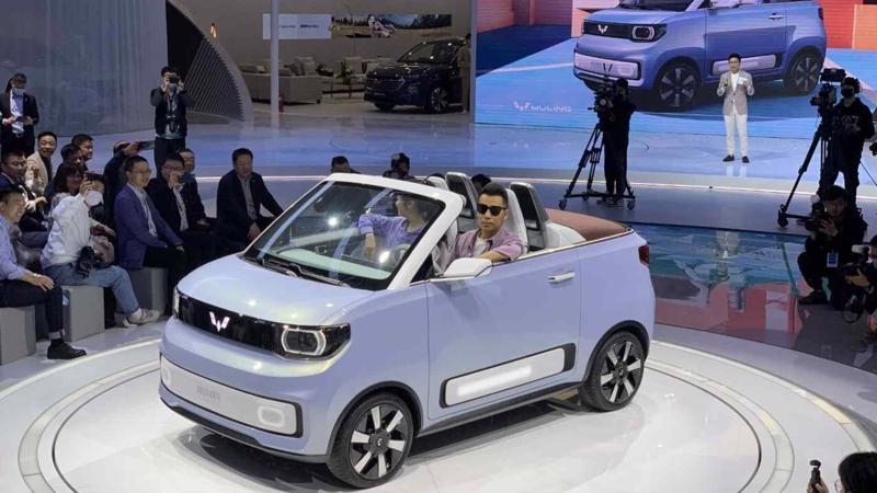 Mẫu xe điện Hong Guang Mini tại Triển lãm Ô tô Thượng Hải - Ảnh: Nikkei.