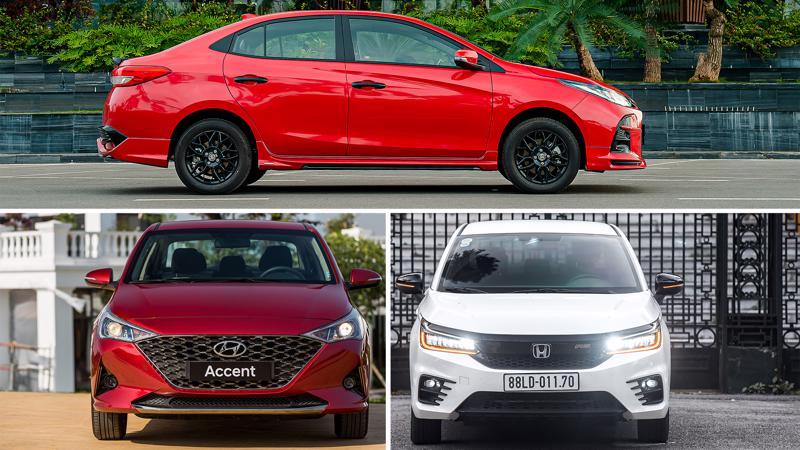 Toyota Vios, Hyundai Accent và Honda City đang tạo nên bộ tam mã xe sedan cỡ B tại thị trường ô tô Việt Nam.