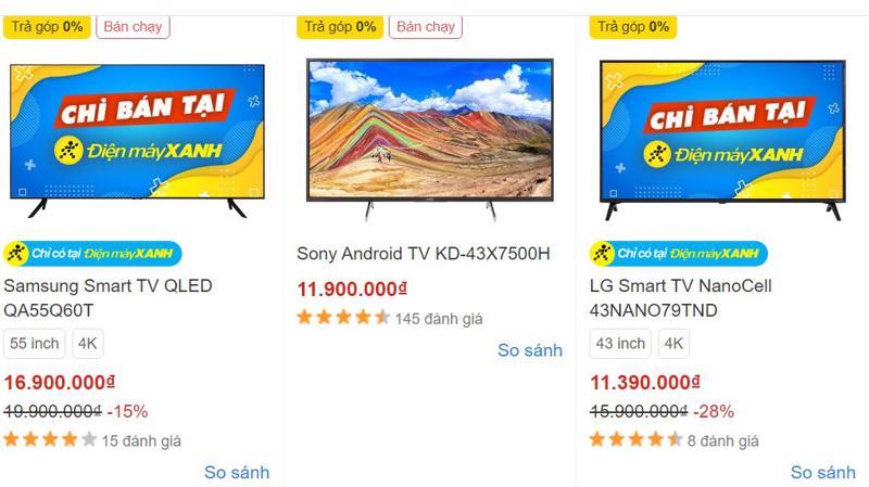 Nhiều mẫu TV sản xuất năm 2020 giảm giá mạnh tại các cửa hàng bán lẻ, bán hàng online.