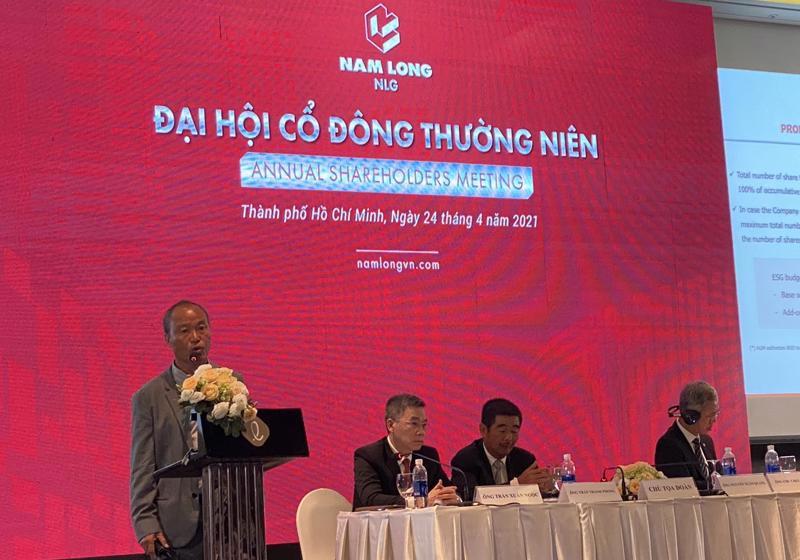 Chủ tịch Nguyễn Xuân Quang phát biểu trước đại hội đồng cổ đông thường niên 2021 tổ chức sáng ngày 24/4 tại Tp.HCM.