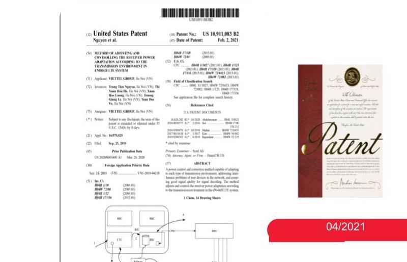 Bằng sáng chế bảo hộ độc quyền vừa được Cơ quan Quản lý sáng chế và nhãn hiệu Hoa Kỳ cấp