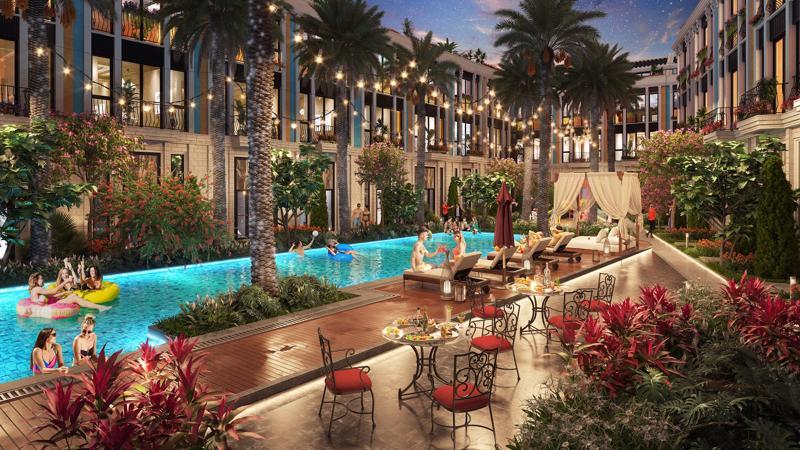 Không gian nghỉ dưỡng riêng tư, hiện đại phía sau các căn Shoptel dự án La Queenara.