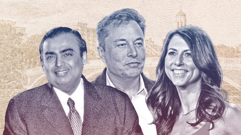 Từ trái sang phải: Tỷ phú Mukesh Ambani (Ấn Độ), Elon Musk (Mỹ) và MacKenzie Scott (Mỹ) - Ảnh: Forbes