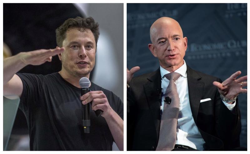 Elon Musk (trái) và Jeff Bezos.