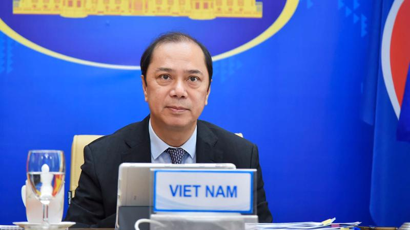 Thứ trưởng Nguyễn Quốc Dũng dự Hội nghị Quan chức Cao cấp ASEAN-Ấn Độ lần thứ 23 - Ảnh: Bộ Ngoại giao