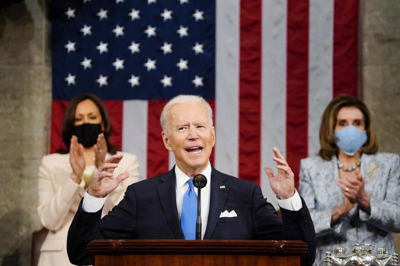 Tổng thống Mỹ Joe Biden phát biểu trước lưỡng viện Quốc hội Mỹ ngày 28/4 - Ảnh: Reuters.