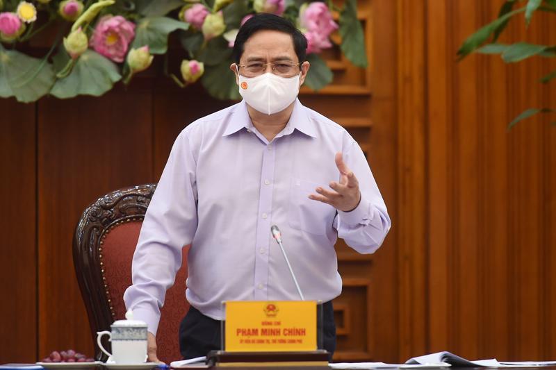 Thủ tướng Chính phủ Phạm Minh Chính tại buổi làm việc sáng 28/4 - Ảnh: VGP