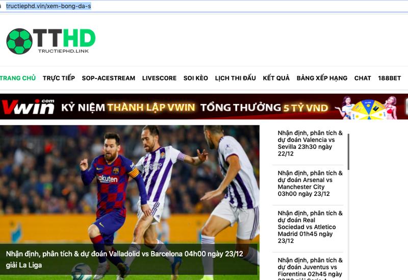 Website giả mạo - ảnh chụp màn hình.