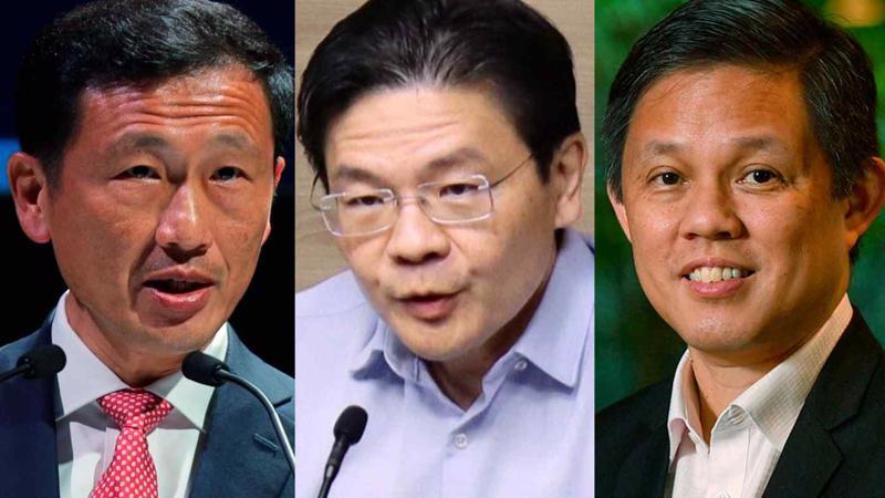 Từ trái qua: ông Ong Ye Kung, ông Lawrence Wong, và ông Chan Chun Sing - Ảnh: Nikkei.