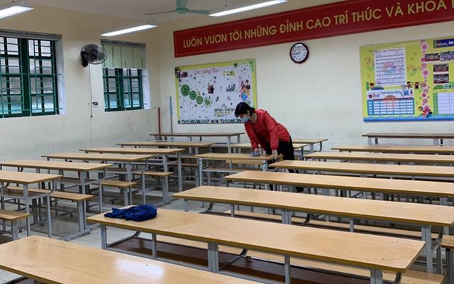 Học sinh dừng đến trường để đảm bảo công tác phòng dịch