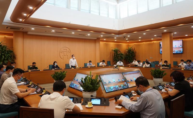 Hà Nội họp giao ban trực tuyến với các quận, huyện, thị xã chiều 6/5.