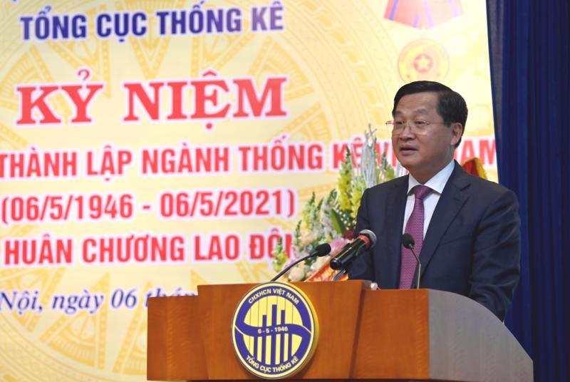 Phó Thủ tướng Lê Minh Khái phát biểu chỉ đạo tại Lễ Kỷ niệm 75 thành lập ngành Thống kê Việt Nam