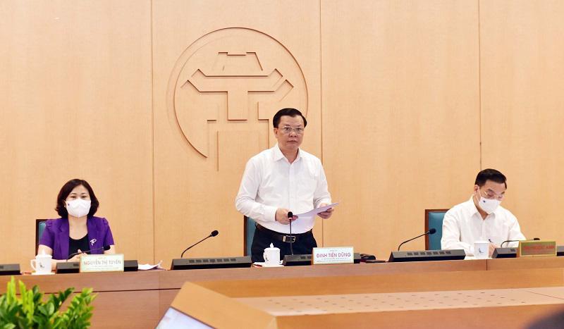 Bí thư Thành ủy Hà Nội Đinh Tiến Dũng chủ trì cuộc họp chiều 10/5.
