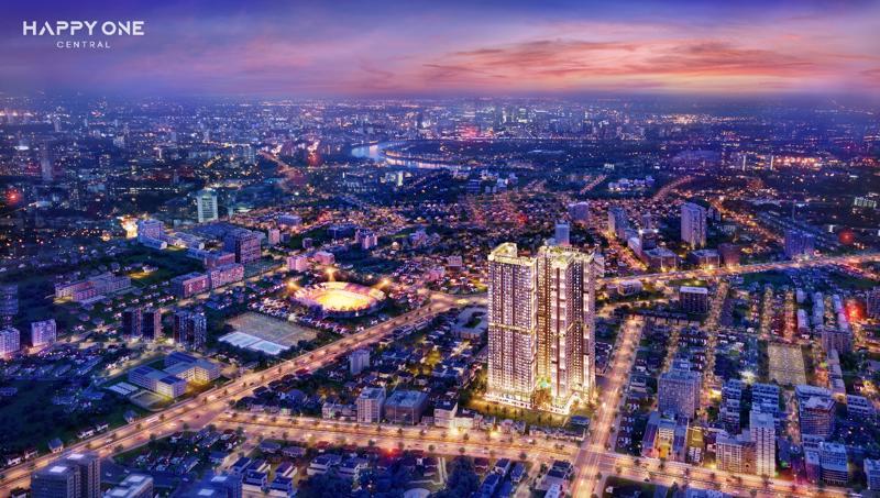 Toàn cảnh dự án khu phức hợp căn hộ thông minh trung tâm thành phố Thủ Dầu Một.