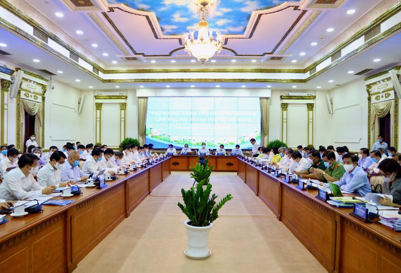 Thủ tướng Phạm Minh Chính tại buổi làm việc với Tp.HCM vào ngày 13/5.