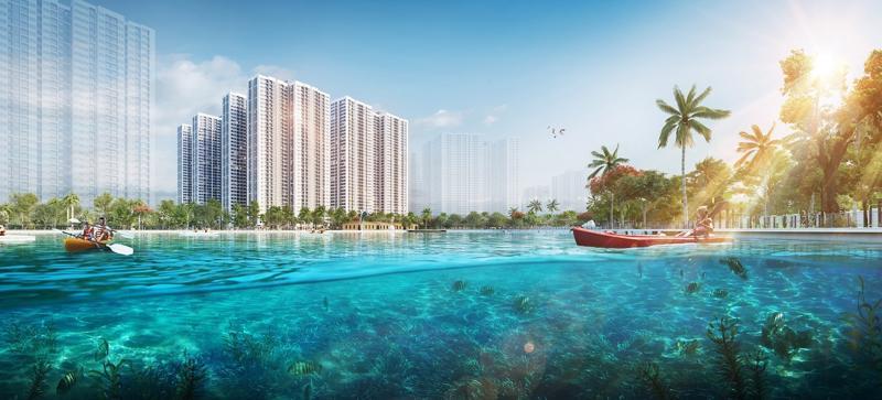 Imperia Smart City sở hữu vị trí kế cận công viên trung tâm 10,2ha, hồ điều hòa.