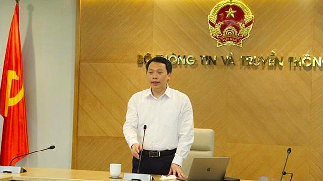 Thứ trưởng Nguyễn Huy Dũng chủ trì cuộc họp từ điểm cầu Bộ Thông tin và Truyền thông - 18 Nguyễn Du, Hà Nội.