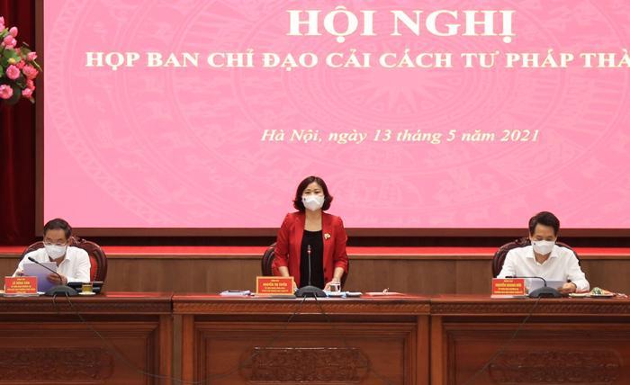Hội nghị họp Ban Chỉ đạo cải cách tư pháp Thành ủy Hà Nội.