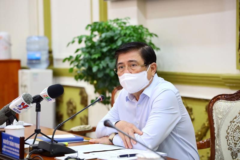 Chủ tịch Uỷ ban nhân dân Tp.HCM Nguyễn Thành Phong chủ trì cuộc họp. Ảnh - Trung tâm Báo chí Tp.HCM.