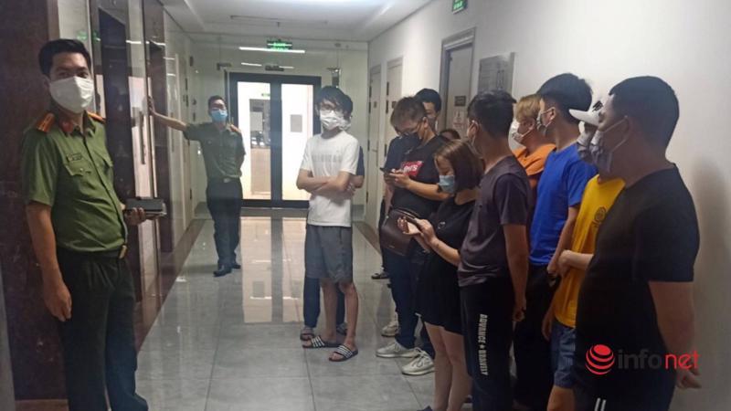46 người Trung Quốc nhập cảnh trái phép, thuê chung cư Florence ở Hà Nội tá túc, bị công an phát hiện chiều 2/5 - Ảnh: CTV.