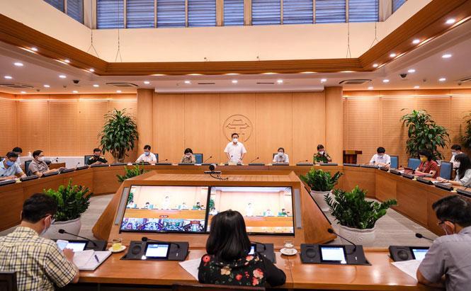 Cuộc họp Ban Chỉ đạo công tác phòng, chống dịch Covid-19 thành phố Hà Nội chiều 17/5.