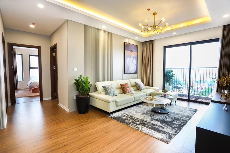 Một góc căn hộ 3 phòng ngủ Chung cư Bình Minh Garden thiết kế theo phong cách hiện đại, tối giản, giao hòa thiên nhiên.