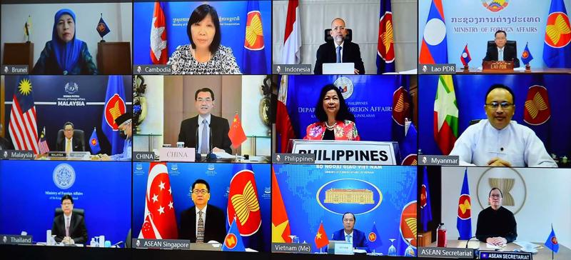 Sự kiện ham vấn Quan chức Cao cấp (SOM) ASEAN - Trung Quốc (ACSOC) lần thứ 27 theo hình thức trực tuyến - Ảnh: Bộ Ngoại giao