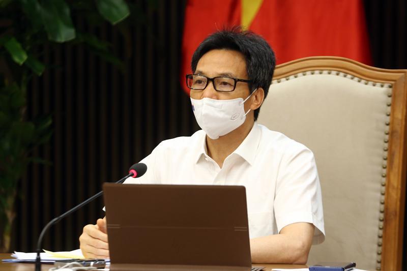 Phó Thủ tướng Vũ Đức Đam họp trực tuyến với tỉnh Bắc Giang và Bắc Ninh về phòng, chống dịch Covid-19 chiều 20/5. Ảnh - Đình Nam.