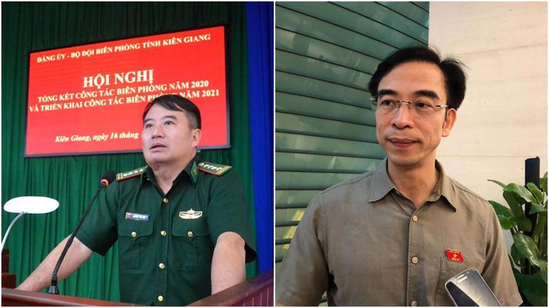 Ông Nguyễn Thế Anh, Chỉ huy trưởng Bộ Chỉ huy Bộ đội Biên phòng tỉnh Kiên Giang và ông Nguyễn Quang Tuấn, Giám đốc Bệnh viện Bạch Mai - Ảnh: TTXVN.