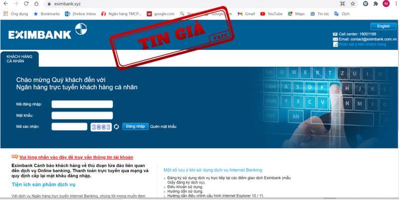Một website giả mạo trang tin của Ngân hàng TMCP Xuất nhập khẩu Việt Nam (Eximbank).
