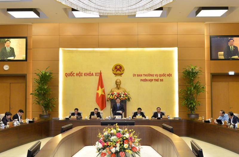 Phiên họp thứ 55 của Uỷ ban Thường vụ Quốc hội - Ảnh: Quochoi.vn.