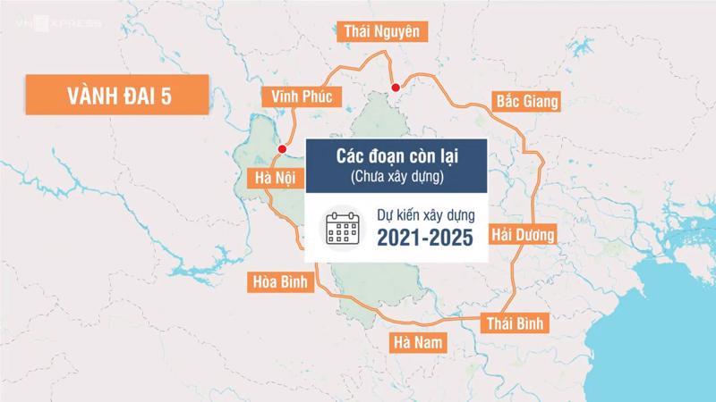 Toàn tuyến vành đai 5 dài hơn 331 km, nhu cầu vốn đầu tư hơn 85,5 nghìn tỷ đồng.