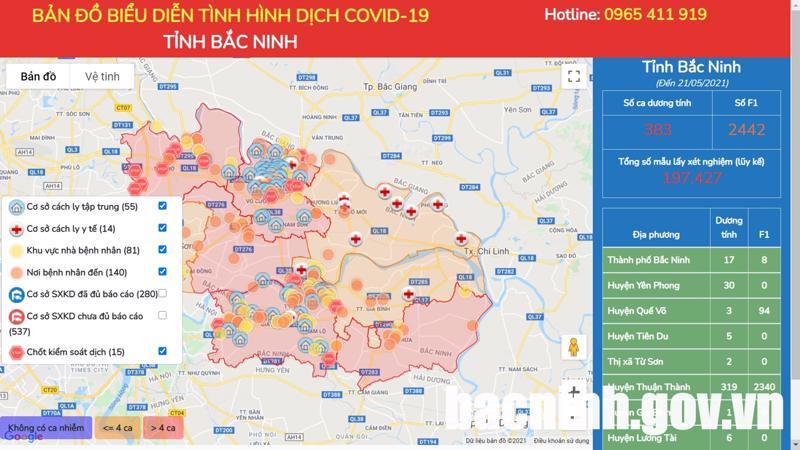 Bản đồ thông tin dịch tễ Covid-19 tỉnh Bắc Ninh