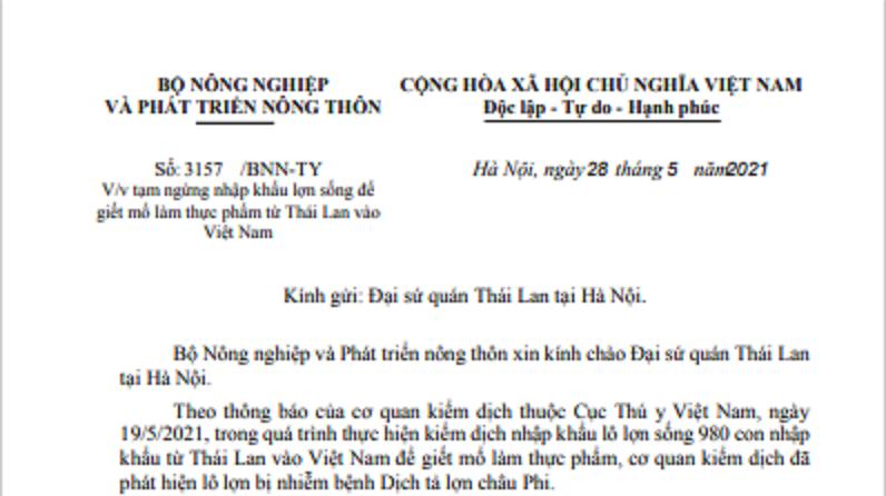 Công văn dừng nhập khẩu lợn từ Thái Lan.