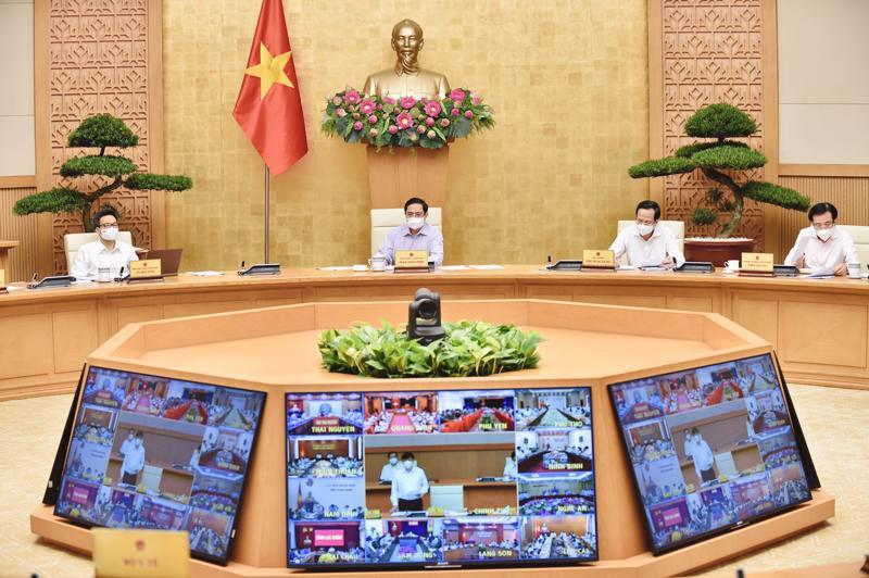 Hội nghị trực tuyến toàn quốc về tình hình, giải pháp cấp bách phòng, chống dịch COVID-19. Ảnh: VGP/Nhật Bắc.