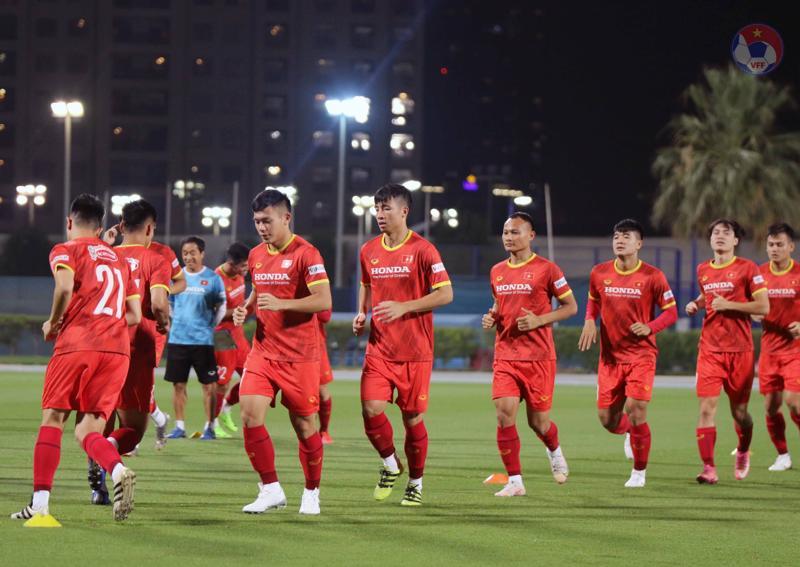 Đội tuyển Quốc gia Việt Nam luyện tập tại UAE để chuẩn bị cho trậ đấu vòng loại thứ 2 sắp diễn ra. Ảnh: VFF