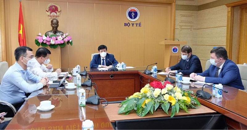 Bộ trưởng Nguyễn Thanh Long làm việc với Quỹ Đầu tư Trực tiếp Nga về vấn đề vaccine phòng Covid-19.