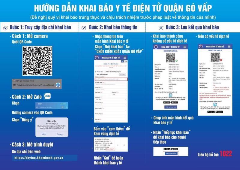Hướng dẫn khai báo y tế điện tử cho người dân quận Gò Vấp.