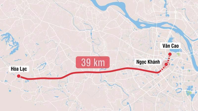Tuyến đường sắt này dài 39 km với 21 nhà ga, gồm 6 ga ngầm và 15 ga nổi. Tổng mức đầu tư dự kiến 65.400 tỷ đồng.