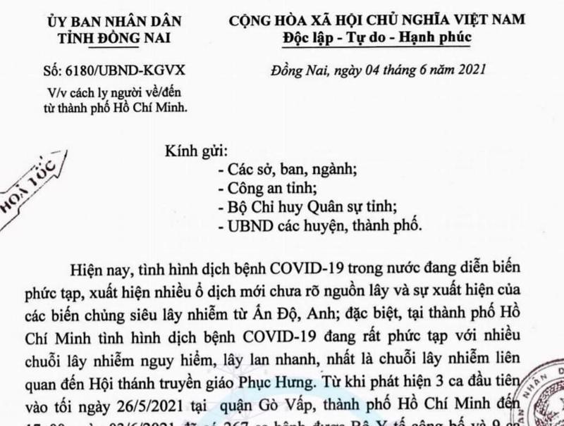 Văn bản hỏa tốc vừa được Ủy ban nhân dân tỉnh Đồng Nai ban hành để phòng, chống và ngăn ngừa dịch bệnh xâm nhập vào địa phương này.