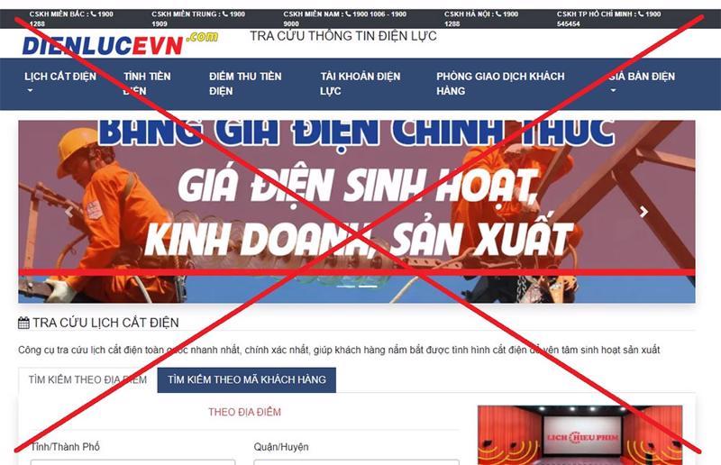 Hình ảnh giả mạo thương hiệu Tập đoàn Điện lực Việt Nam