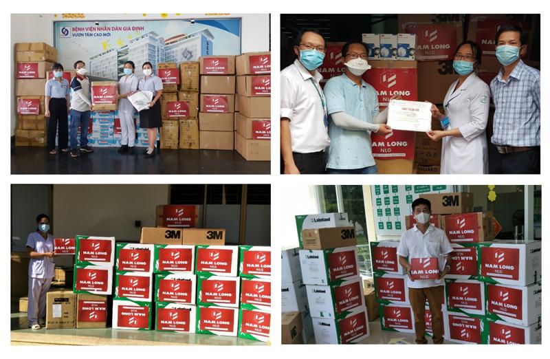 Nam Long đã tiếp trợ cho đội ngũ y bác sĩ đang làm việc tại Bệnh viện Bệnh Nhiệt Đới, Nhi Đồng 2, Gia Định, Bệnh viện Dã chiến điều trị Covid Cần Giờ, Củ Chi.