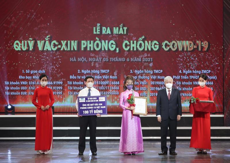 Nữ tỉ phủ Nguyễn Thị Phương Thảo ủng hộ 100 tỉ đồng cho Quỹ Vắc xin phòng chống Covid-19.