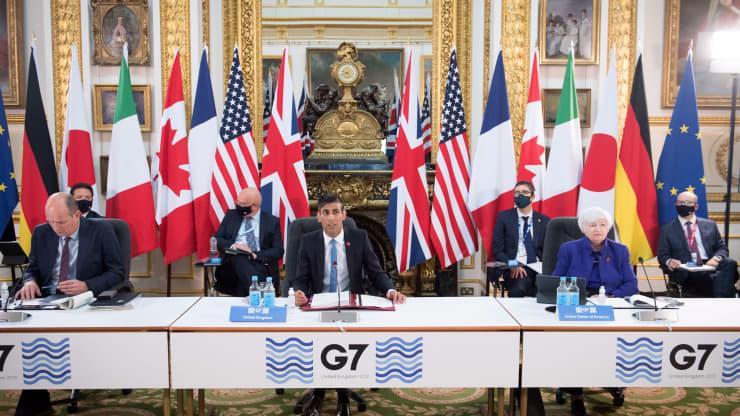 Các quan chức tài chính G7 trong hội nghị ở London, Anh hôm 4/6 - Ảnh: Getty/CNBC.