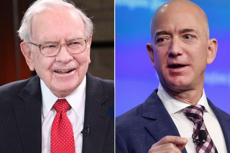 Tỷ phú Warren Buffett (trái) và Jeff Bezos - Ảnh: CNBC